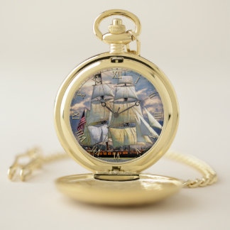 Sailing Ship 1A & Numeral Options Pocket Watch