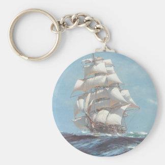Sailing Ship Basic Round Button Keychain