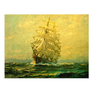 Sailing ship crosses the Atlantic Postcard