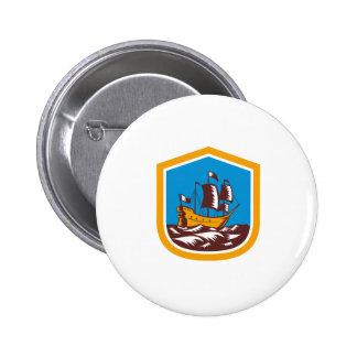 Sailing Ship Galleon Crest Retro Woodcut Buttons
