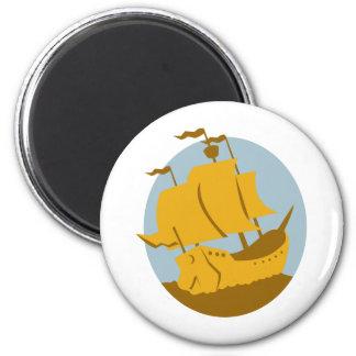 sailing ship galleon retro refrigerator magnet