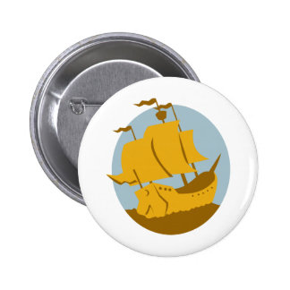 sailing ship galleon retro pinback buttons