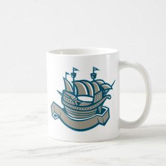sailing ship galleon scroll coffee mug