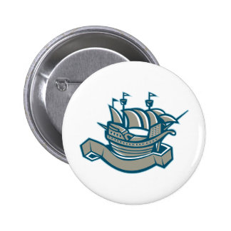 sailing ship galleon scroll pin