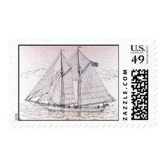 Sailing Ship Grampus Postage Vintage Lithograph