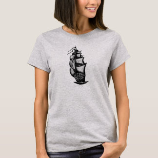 Sailing ship ink pen drawing art t-shirt