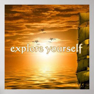 sailing ship inspirational motivational travel poster