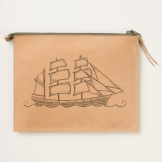 Sailing Ship Leather Pouch