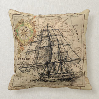 Sailing Ship Map Compass Design Throw Pillow