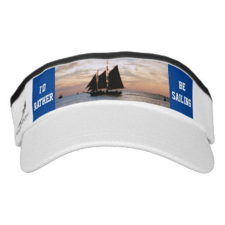 Sailing Ship on Horizon at Sunset Design w/Text Visor