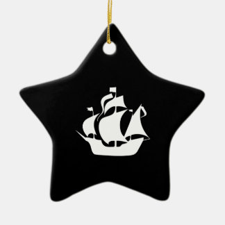 Sailing Ship Double-Sided Star Ceramic Christmas Ornament