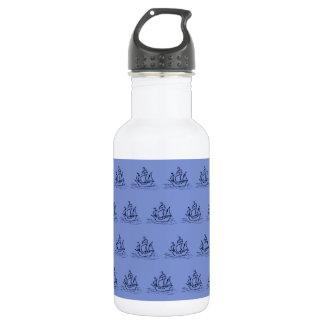 Sailing Ship Pattern. Warm Blue. Water Bottle