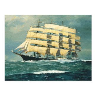 Sailing ship Preussen at sea Postcard