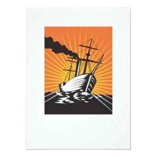 Sailing Ship Retro Woodcut 5.5x7.5 Paper Invitation Card