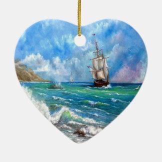 Sailing Ship Seascape Design Ceramic Ornament