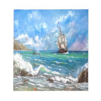 Sailing Ship Seascape Design Notepad
