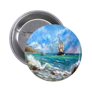 Sailing Ship Seascape Design Pinback Button