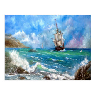 Sailing Ship Seascape Design Postcard