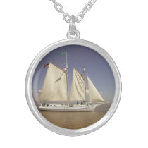 SAILING SHIP SILVER PLATED NECKLACE