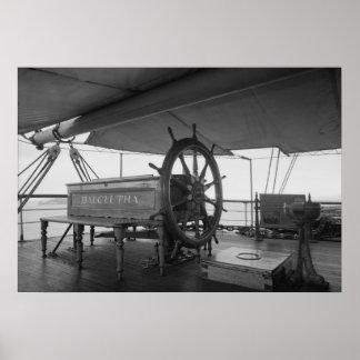 Sailing Ship Steering Wheel Poster