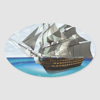 Sailing Ship Oval Sticker