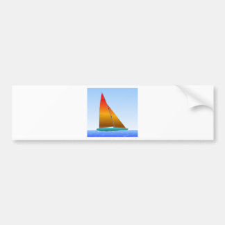 Sailing ship turquoise hull bumper sticker