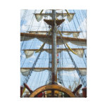 Sailing Ship Wheel and Rigging Stretched Canvas Print