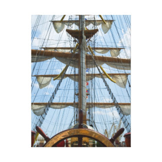 Sailing Ship Wheel and Rigging Canvas Print