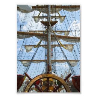 Sailing Ship Wheel and Rigging Photo