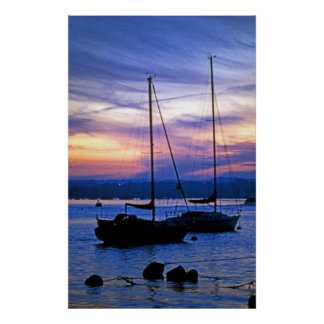 Sailing Ships at Poole Harbour at Dusk Poster