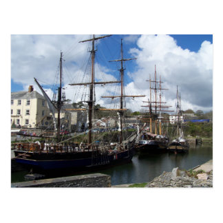 Sailing Ships Charlestown Harbour Cornwall Photo Postcard