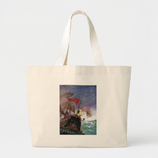 Sailing Ships in a Stormy Sea Large Tote Bag