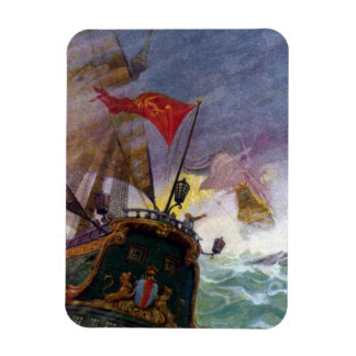 Sailing Ships in a Stormy Sea Rectangular Magnet