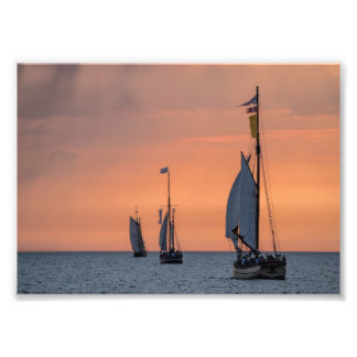 Sailing ships in sunset light on the Baltic Sea Photo Print