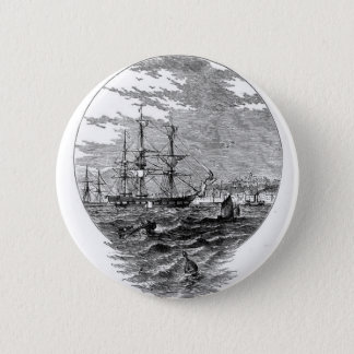 Sailing Ships in the Harbor Button