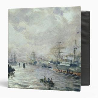Sailing Ships in the Port of Hamburg, 1889 3 Ring Binder