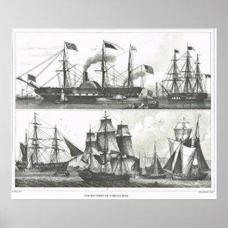 Sailing ships of various rigs poster