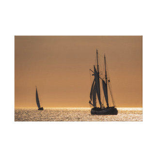 Sailing ships on shore of the Baltic Sea Canvas Print