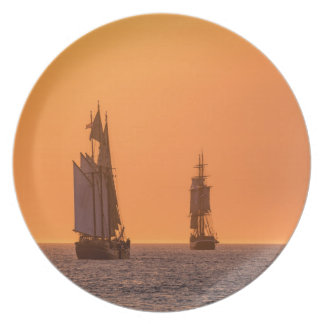 Sailing ships on the Baltic Sea in Rostock Dinner Plate