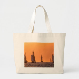 Sailing ships on the Baltic Sea in Rostock Large Tote Bag