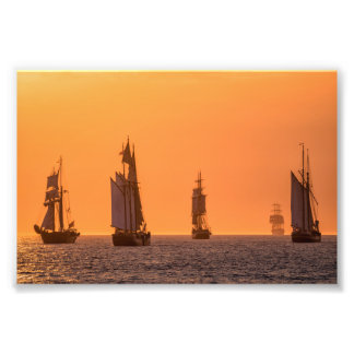 Sailing ships on the Baltic Sea in Rostock Photo Print