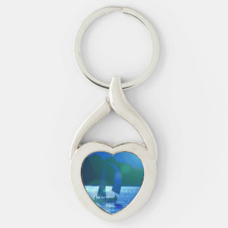 Sailing Silver-Colored Heart-Shaped Metal Keychain