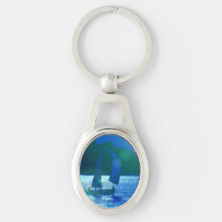 Sailing Silver-Colored Oval Metal Keychain