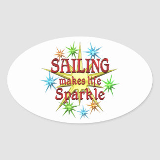 Sailing Sparkles Oval Stickers