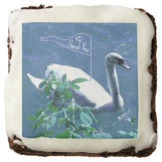 Sailing Swan Thank You Brownies Square Brownie