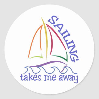Sailing Takes Me Away Classic Round Sticker