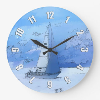 Sailing the Calm Blue Waters - Sailboating Large Clock