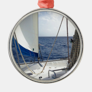 Sailing the Carribean Round Metal Christmas Ornament