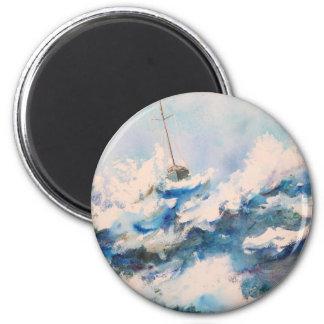 Sailing the Stormy Seas Refrigerator Magnet