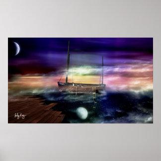 Sailing Through The Night Sky - Poster
